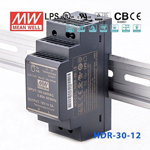MeanWell HDR-30-12 Trasformatore Rotaia Industriale 12V 24W 2A Barra Guida DIN R