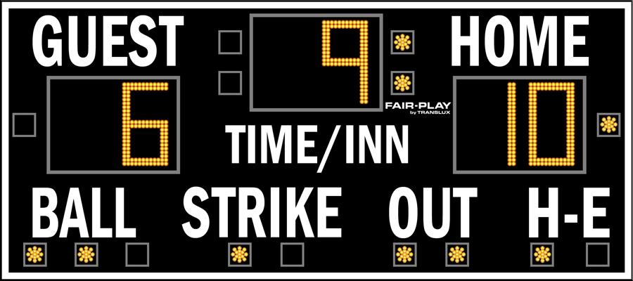 Fair-Play BA-7109CL-2 Baseball Scoreboard (4′ x 9′)