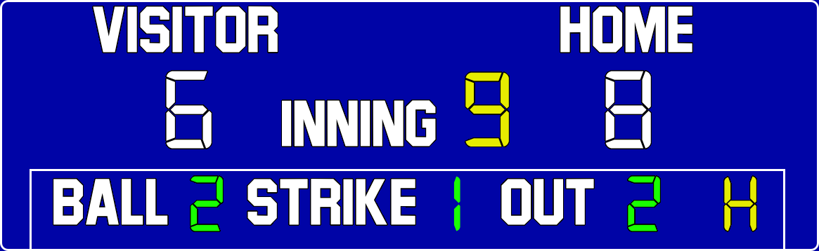 ScoreBoards.com BA-7200-LED Baseball Scoreboard (5′ 6″ x 14′)