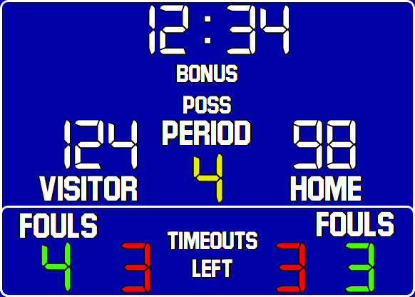 ScoreBoards.com BB-1630-LED Basketball Hybrid Scoreboard (5′ x 9′)