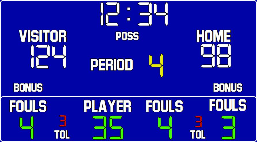ScoreBoards.com BB-1660-LED Basketball Hybrid Scoreboard (5′ x 10′)