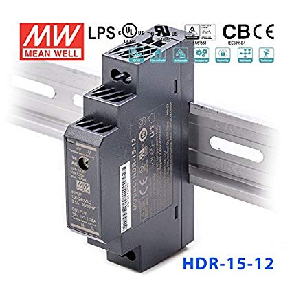 Mean Well HDR-15-12 DIN Rail Power Supply, 12V 1.25A 15W