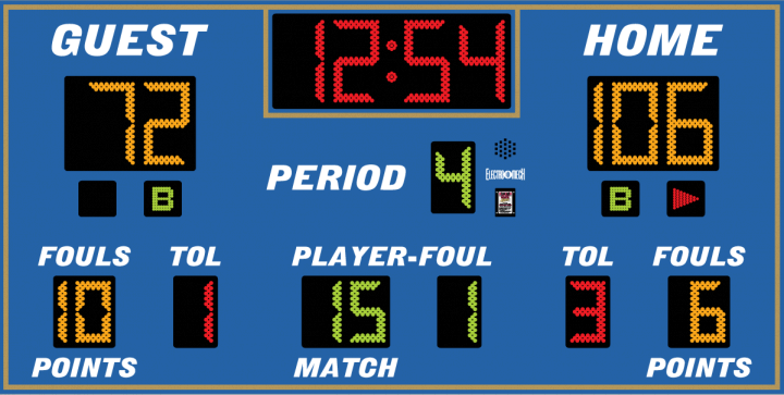 Electro-Mech LX2665 Basketball Scoreboard (10′ x 5′)